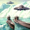 Nazi UFOs arriving in Antarctica. Accompanied by Nazi UFOs. Artwork: JIm Nichols.