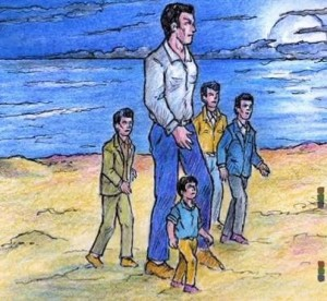 Artist depiction of 8 foot extraterrestrial and his dwarf companion walking with three Italian contactees. Amicizia case. Italy.