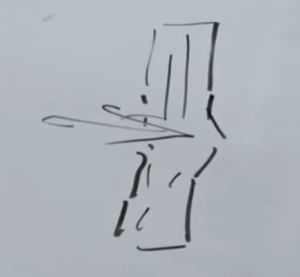 Dick's sketch of impact on a tall tower