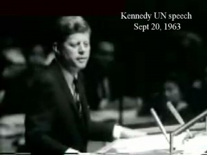 President Kennedy's historic Sept 20 UN Speech culminated in the events of November 12, 1963.
